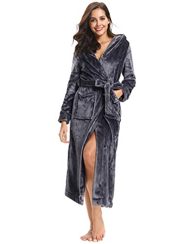07aeb85b589 aibrou chapeau pyjama femme polaire robe chambre homme longue hiver sortie  de bain peignoir pas cher