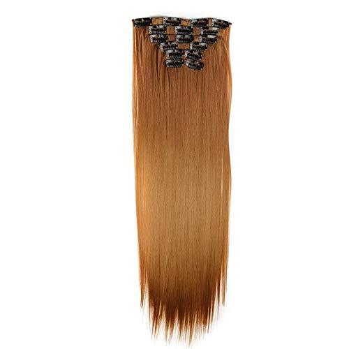 Rifuli® Perrücke 6Pcs Full Head Natural Women 16 Clips Synthetic Straight Hair Extensions Perücken Haarteile für Erwachsene