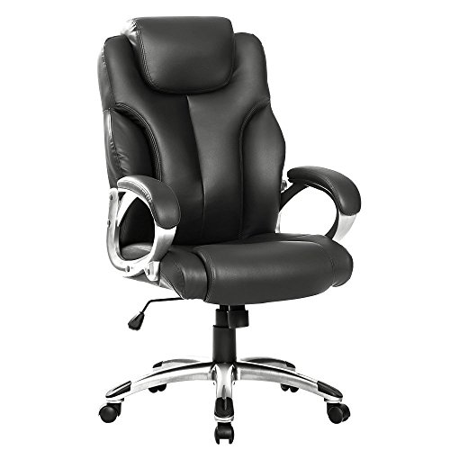 LIFE CARVER Boss Chair PU leather Swivel Computer Desk Office High back Office Chair, (Black)