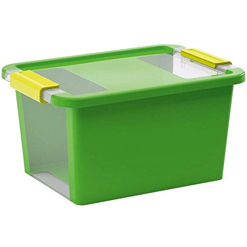 KIS Contenitore Bi Box Verde, Plastica Resistente, Trasparente 36,5x26xh. 19 Cm - Armadi Di Impugnatura Maniglia