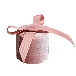Fenical 1 stück Vintage Ring Box samt geschenkbox für schmuck aufbewahrungskoffer Hochzeit vorschlagen Jahrestag (rosa kleine größe)