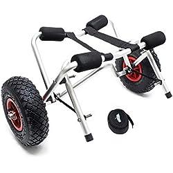 WilTec Chariot de Transport Pliable pour Kayak Canoë avec Sangle Remorque pour bâteau et Planche de Surf