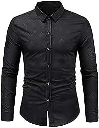 BUSIM Men's Long Sleeved Shirt Autumn Winter Fashion Casual Retro Dark Print Trend Personality T-Shirt Top Slim... - B07H99VGWN