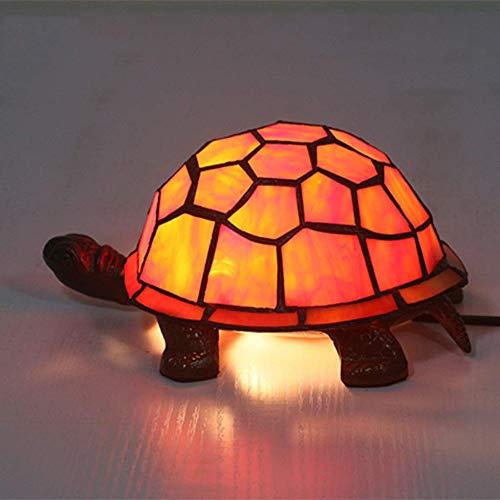 HHCC Tiffany Schreibtischlampe, kreative Glas Tischleuchte Tortoise Form Nachtlichter für Kinder Kind Leuchte dekorative Nachttischlampe Lamp Orange - Tiffany-glas-vase