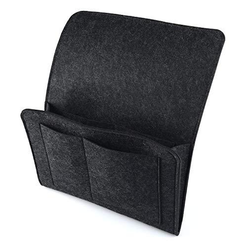 HOGAR AMO Dicke Filz-Bett-Caddy-Organizer Betttasche Sofa Hängeaufbewahrung für Handy, iPad, Brille, Buch, Fernbedienung, 4 Taschen & Seitenloch für Aufladungskabel 32 x 20cm Schwarz