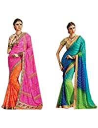Mantra Georgette Saree (Mant19_Multi-Coloured)