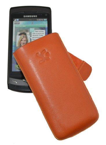 Original Suncase® Tasche für / Samsung Wave S8500 / Leder Etui Handytasche Ledertasche Schutzhülle Case Hülle (mit Zieh-Lasche) in orange