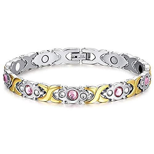 Feeyond Magnet-Therapie-Armband Weibliches Elegantes Magnet-Armband Zur Arthritis-schmerzlinderung, Mit Bohrer, Gold Und Silber