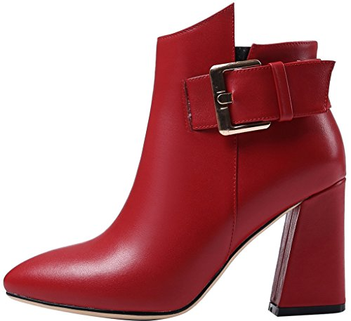 ELEHOT Donna Elefellow tacco a blocco 8.5CM Leather Stivali, rosso,