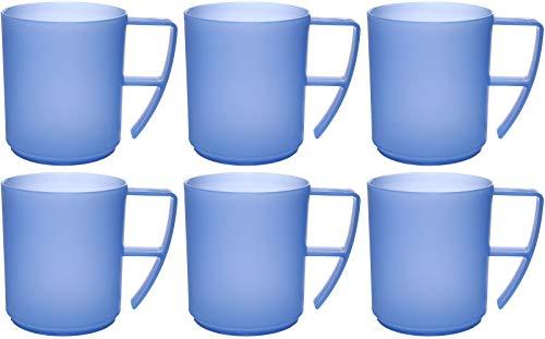 41goz bPMsL - idea-station NEO Kunststoff-Tassen 6 Stück, 350 ml, mehrweg, bruchsicher, bunt, farbig, Griff, Henkel, Kaffee-Becher, Kaffe-Tassen, Kinder-Tassen, Plastik-Tassen, Kunststoff-Tassen