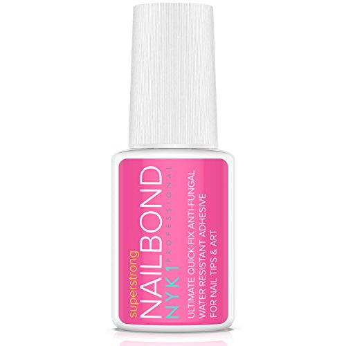 NYK1 Nail Bond Super Strong Nail Tip Bond Glue Adhesive with Brush - Salon Professional Quality - Nailbond Perfect for False Acrylic Art Natural, Dimonties, Glitter, Rhinestones, Diamantes, Jewels, Gems, White and Clear Tip Applications - Anti Fungal