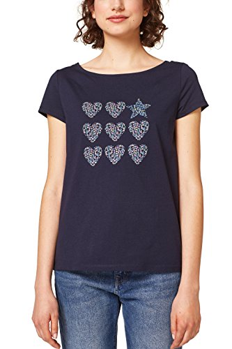 edc by ESPRIT Damen T-Shirt 048CC1K116, Blau (Navy 2 401), X-Small