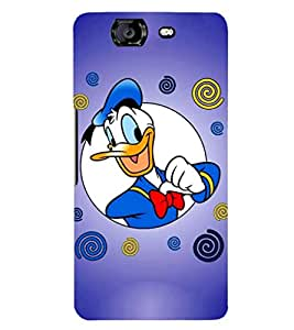 Printvisa donald duck in blue background Back Case Cover for Micromax Canvas Knight A350