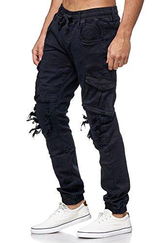 MEGASTYL One Public Männer Herren Cargo Taschen Jeans-Hose Olivgrün, schwarz, braun, grau Elastischer Bund Schwarz