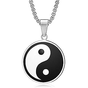 BOBIJOO JEWELRY – Anhänger, Halskette Medaillon als Symbol Traditionellen Yin-und Yang-Edelstahl 316L Schlecht Kette