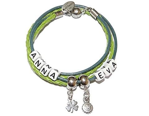 ARTemlos® Handgefertigtes Damen-Armband (5-15y) mit Name, zum Wickeln, aus Edelstahl und Leder in grün/petrol