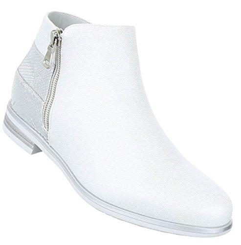 Damen Stiefeletten Schuhe Stiefel Chelsea Boots Schwarz Schwarz Gold Silber 36 37 38 39 40 41 Silber