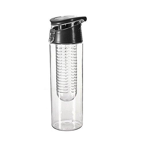 Nikgic 800ML Frucht Infusing Wasserflasche Zitronensaft Make mit Frucht Infuser und Flip Deckel Flasche BPA frei (Schwarz)
