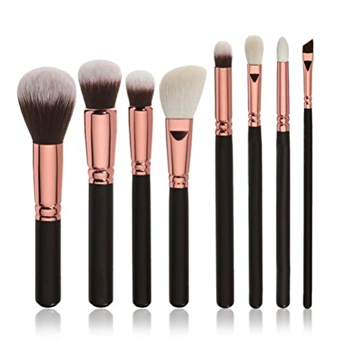 Pinceaux de maquillage, Sayue 8pcs maquillage pinceaux cosmétiques mis en poudre fondation ombre à paupières brosse à lèvres outil, noir