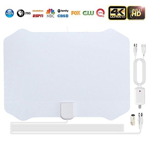 TV Buddy Antenne, 2018NEU HD Digital TV Antenne kit-80Mile Range TV-Antenne, leistungsstarker HDTV Verstärker Signal Booster und TV Adapter Unterstützung 4K 1080p & alle älteren TV 'S für indoor-white (Tv-booster)