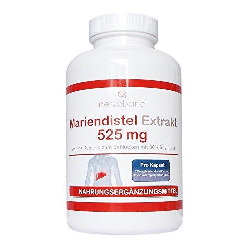 Mariendistel Extrakt 525 mg - 80% Silymarin (420mg) - 200 vegetarische Kapseln - frei von Trennmitteln und Füllstoffen