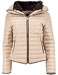 Womens Ladies Quilted Padded Coat Bubble Puffer Jacket Fur Collar Hooded Thick [Stone, UK L]