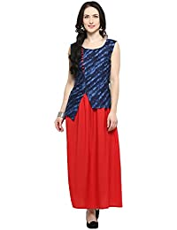 Ecolors Fab Women's Solid Long Length Anarkali Cotton Kurti For Womens(EC_2018_1_Kurta )