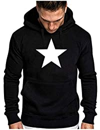 Topassion Men's Plain Pullover Hoodie Star Print Hooded Top Unisex Mens Ladies Hooded Sweatshirts Fashion Winter Solid Printed Long-Sleeved Hooded Sweatshirt Halloween Tops