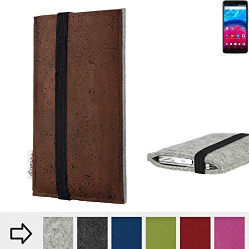 für Archos Core 57S Schutzhülle Handy Case SINTRA mit Korkstoff (Braun) und Gummiband-Verschluss (schwarz) - passgenaue Smartphone Tasche Schutz Hülle aus 100% Wollfilz (hellgrau) für Archos Core 57S
