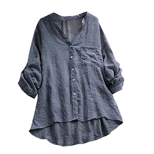 Jiameng top abito vestito da donna in cotone lino mezza impunturato patchwork 1/2 maniche sciolto tasche tunica dress camicia stampa magliette t-shirt manica corta lunga tinta unita (m, f grigio)
