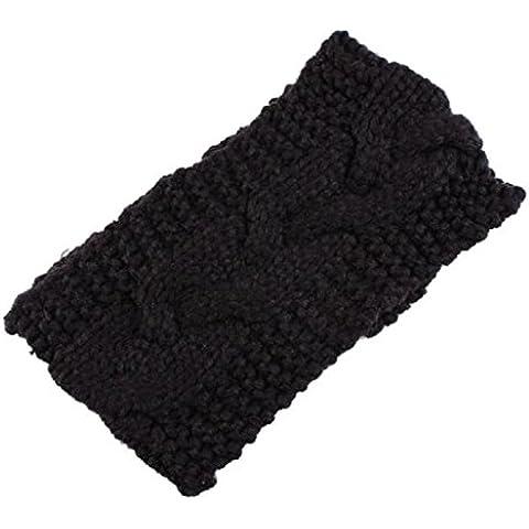 Sannysis® Muchacha de las mujeres de punto Diadema Accesorios para el cabello (Negro)