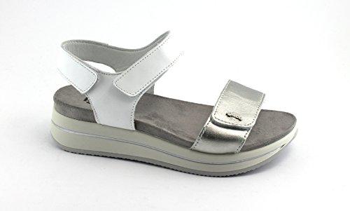 Igi&Co 1172400 Chaussures Blanches coincent Sandales en Cuir Déchirure Bianco
