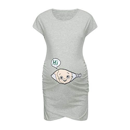 BfmyxgsMode Mutterschaft Kleid Damen Schwangere Frauen ärmellose ärmellose Baby Cartoon Schwangerschaft Kleid