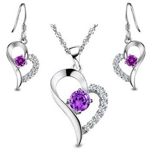 sterlina Accent Diamante Amethyst Simbolo di cuore Set collana e Ciondolo