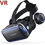 WANZIJING 3D VR Virtual Reality Glasses mit Ohrhörern Smartphones Home Cinema für iPhone XS/X Max X 8 7 6 6s Plus, Samsung S9 S8 S7 S6/Plus/Edge Note 9 8, Phones w/4.7-6.0 in Screen