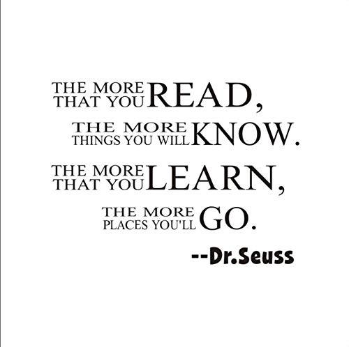 Dr.Seuss Je mehr Lesen Sie Erfahren Lernen Und Gehen Englisch Wandaufkleber Leben Philosophie Englisch Wort Wandtattoo (Dr. Seuss Lesen Wandtattoos)