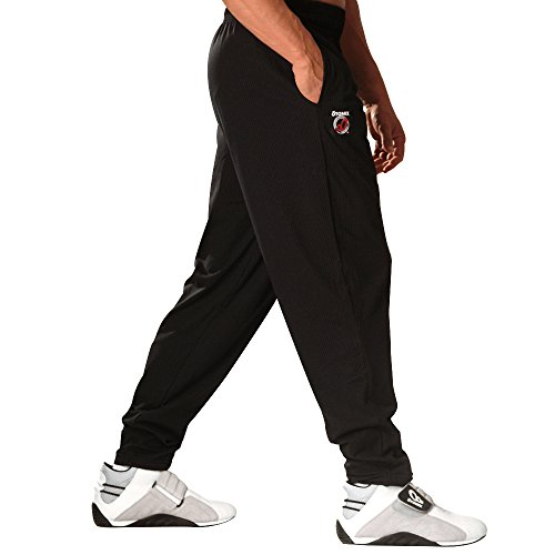 Otomix Herren Trainingshose, 100% Baumwolle, einfarbig, Bodybuilding - Schwarz - Mittel Otomix Baggy Pants