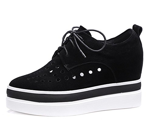 2017 nuovi pattini delle donne di pecora camoscio aumentato cintura pizzo scarpe casual casuale Black