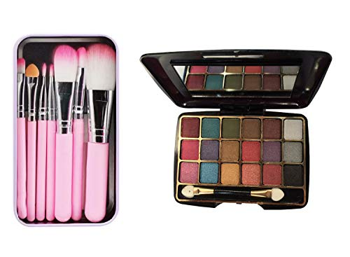 Vozwa Mini Makeup Brush Kit With Storage Box and Eye shadow Kit