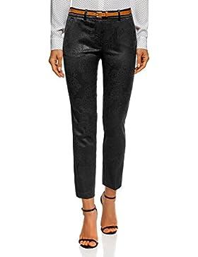 oodji Collection Mujer Pantalones de Jacquard con Cinturón