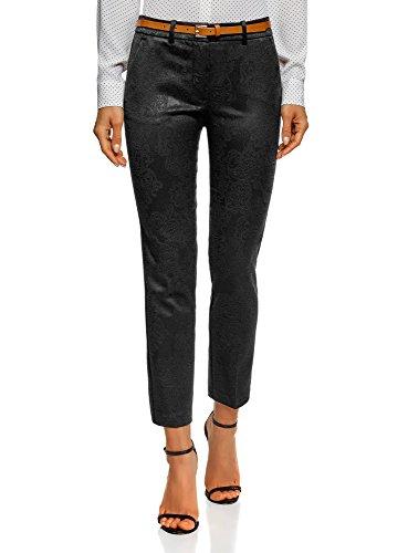 oodji Collection Mujer Pantalones de Jacquard con Cinturón, Negro, ES 40 / M