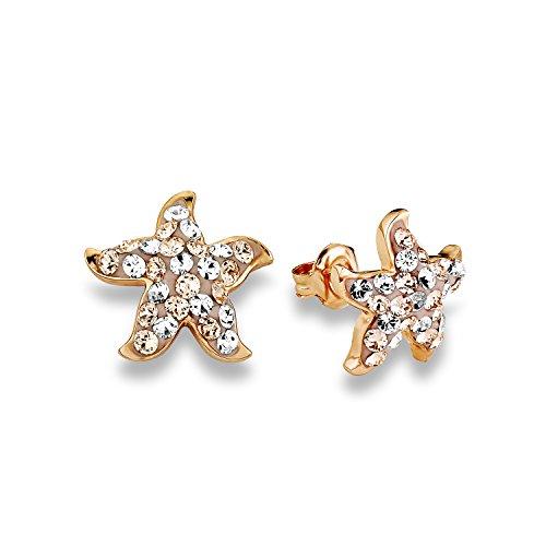 Noelani Damen-Ohrstecker Seestern rosévergoldet veredelt mit Swarovski Kristallen 15 mm