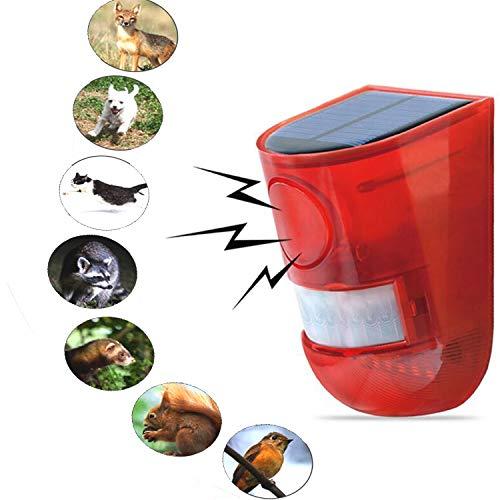chall-Repeller, Solar Sound und Licht Alarm Solar Power Batterie Alarm System IP65 wasserdichte Outdoor Tier Repeller Bewegungssensor Menschlicher Körper Induktion-rot ()