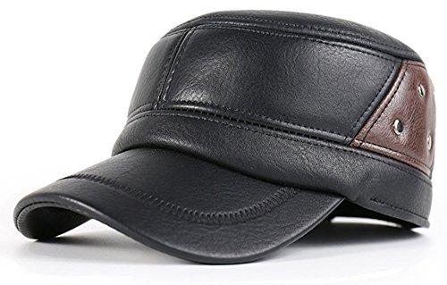 Roffatide Herren PU-Leder Flache Oberseite Baseball Cap mit Klappbarer Ohrenklappe Einstellbar Wintermütze (Cotton Cycling Cap)