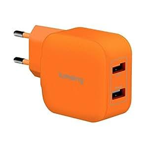 Lumsing Caricabatterie da muro 2 Porte USB (1 Porta Intelligente + 1 Porta Quick Charge) Caricatore Portatile per iPhone, Samsung, HTC, Nokia iPad, iPod, Nexus - 5V 4A QC 2.0 EU Arancione