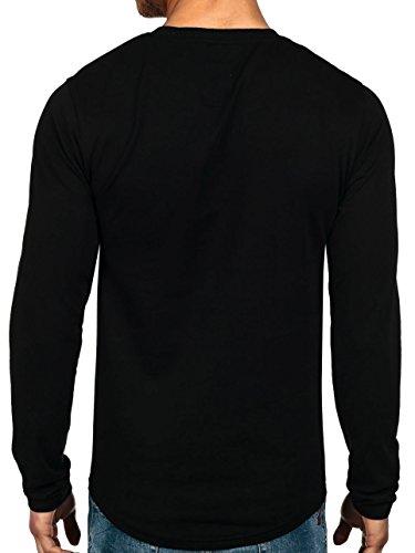 BOLF – Sweat-shirt – Manches longues – U-neck – Camo – Motif – Homme [1A1] Noir-Rouge