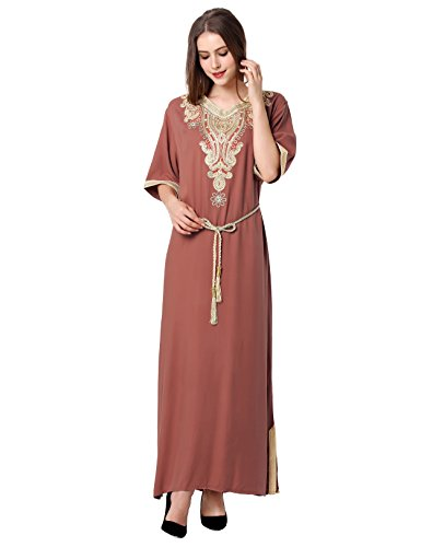 vetement femme musulmane / muslima abaya robe islamique Caftan brodé jalabiya rayonne dubai maxi dress longue jupe 1605 brun clair