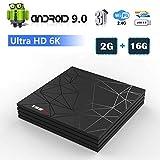 Android 9.0 TV Box, Smart T95 Max Lettore Multimediale Box 2GB RAM 16GB ROM H6 Quad-Core Cortex-A53 2.4GHz WiFi Supporto 3D 6K H.265 10/100M Ethernet HDMI con Remote Control Video Player
