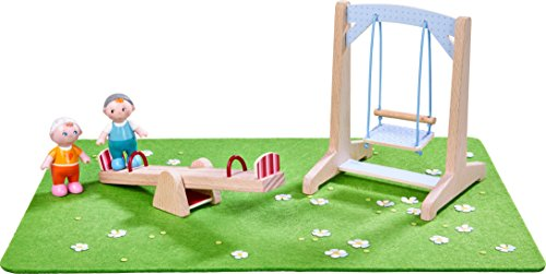 HABA 303939 - Little Friends - Spielset Spielplatz   Mit Wiese, Wippe, Schaukel und 2 Babys   Tolle Ergänzung für die Little Friends-Spielwelt (Puppe Spielplatz)