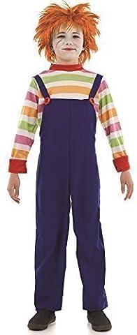 Jungen Kinder Kostüm Böse Puppe Halloween Film Outfit 4-12 Jahre - Mehrfarbig, 4-6 Jahre (Chucky Die Puppe Kostüm)